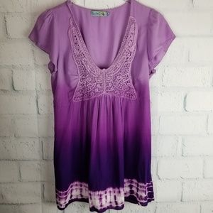 Unity World Wear Bohemian Ombre Tunic Top. Size M.
